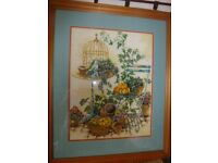 Crossstitch and tapestry pictures crafted with love. Professional framed.