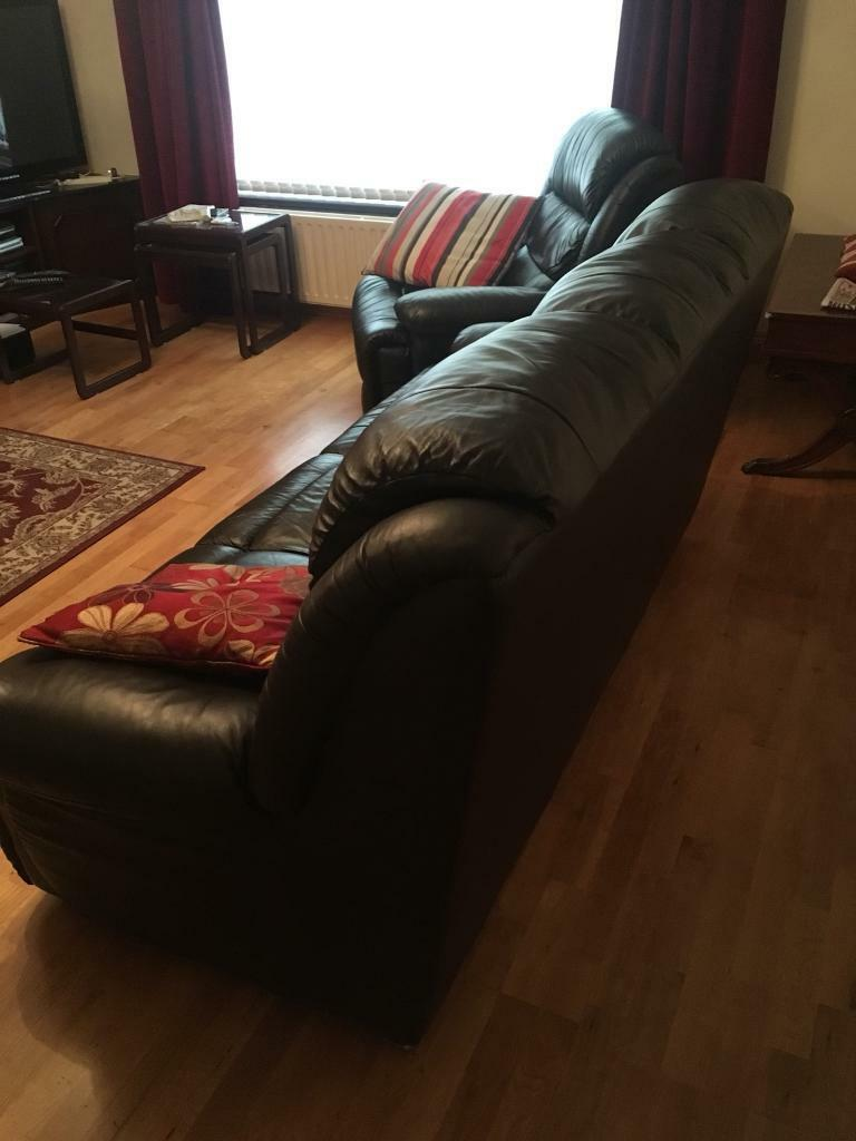 Chocolate Brown Leather Sofa In Kilrea County Londonderry Gumtree