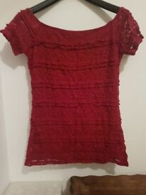 Dorothy Perkins Women's Red Lace Bardot Style Top - Size 10 UK