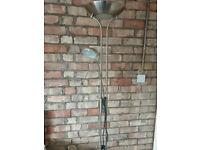 Brushed Chrome Tall Upstand Light with Reading Light Dimmable
