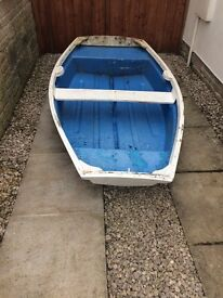 """Small Fibre Glass Rowing boat 7'10""""x4'5"""" approx"""