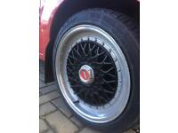 """Set of 4 16"""" Lenso BSX Black Alloy wheels, 4x108 With Tyres"""