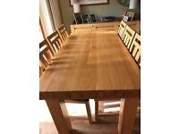 Solid Oak Dining Table Six chairs