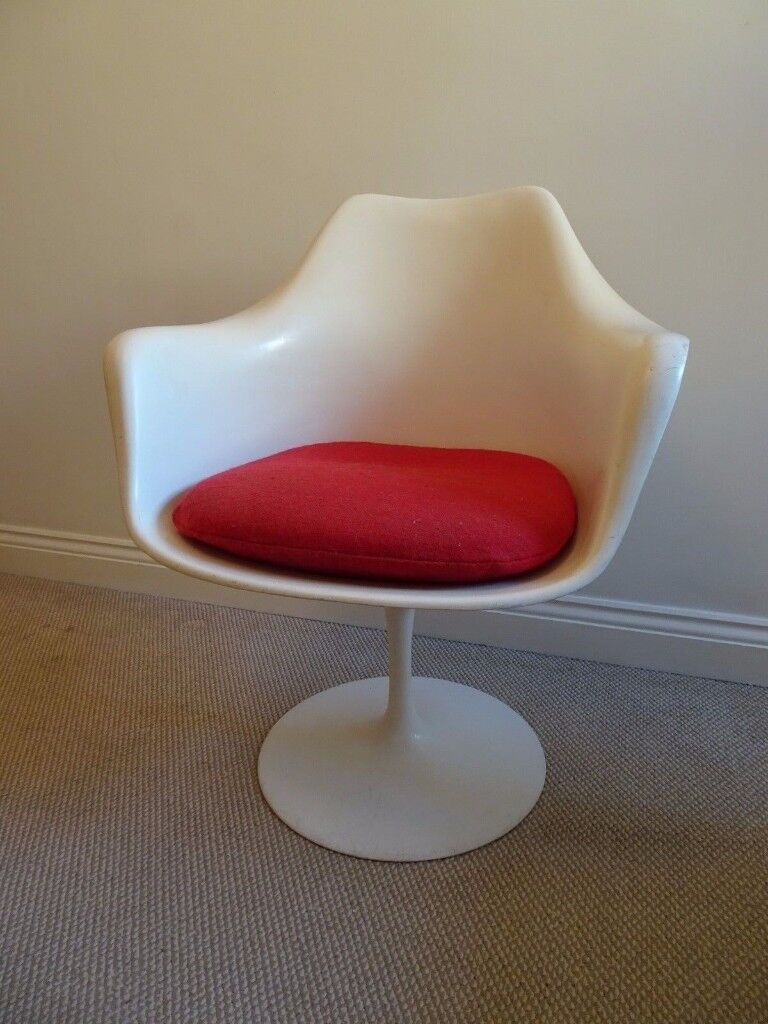 Original Vintage 1950s 1960s White Tulip Chair With Red Cushion