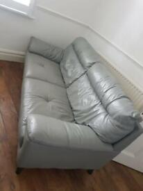 DFS Genuine Grey Leather Two Seater Sofa Comfortable Good Condition Delivery Possible