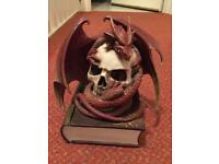 Beautiful nemesis now mystical skull and dragon trinket box - man cave / hidden storage ornament