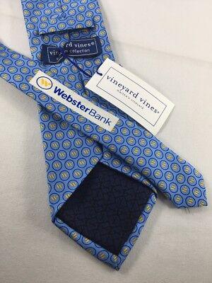 New Vineyard Vines Silk Tie    85 Nwt Blue Yellow Print Webster Bank 2989