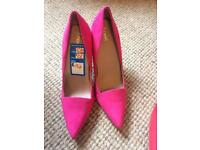 Ladies bright pink suede high heels size 6.5 / 40