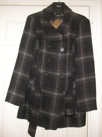 NEXT SIZE 16 PETITE FITTING BLACK & WHITE CHECK 3/4 COAT WITH BELT NEW