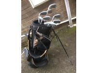 golf bag with golf sticks