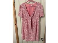 Glamorous pink flowery size 14 zip up dress