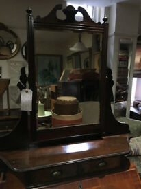 Lovely Antique Mahogany Table Top Swivel Vanity Mirror with 2 Drawers or Reception Area Key-holder