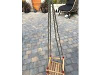 Child's wooden swing with hook fittings