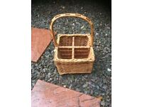 Vintage Wicker wine bottle holder with handle