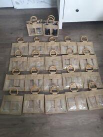 22 x Brand New Short Jute Bags Gift Jars Market Stall