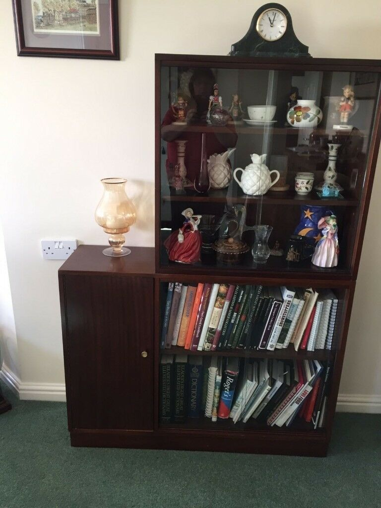 Mahogany Display Cabinetbookcasecupboard With Glass Sliding Doors