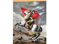 Hand painted art reproduction of Napoleon Crossing the Alps. Oil painting in 12 x 10 inch frame