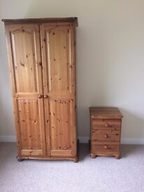 Good quality pine single wardrobe and 3 drawer bedside cabinet for sale