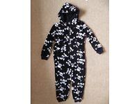 Skull pattern fleece onesie age 7-8 yrs from M&S