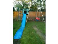 TP Toys Double Giant Swing Frame including slide and accessories