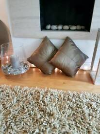 Stunning Habitat Cushions in bronze metallic leather
