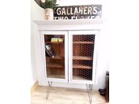 Vintage French Styled Glass fronted Cabinet, Linen Storage Cabinet on Mid Century Legs