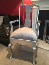 Silver & crushed velvet occasional chair carver chair. Upcycled. Statement piece