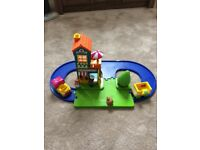 ELC happyland train track, playground and mr bun tea room and bakers