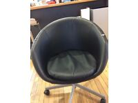 ROUND BUCKET SWIVEL CHAIR - MOCK LEATHER - 3 AVAILBLE