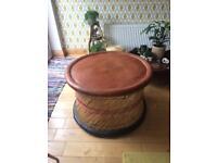Large Indian Bohemian vintage retro table stool wicker rattan