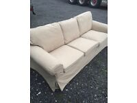 Large 7ft IKEA Ekthorp 3 Seater Beige Sofa. Very Good Condition. ** Can Deliver **