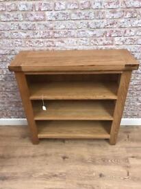Oak low 3 shelf bookcase