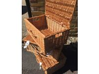 8 x Picnic Hampers/Baskets with white straps used once for a wedding