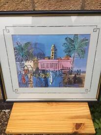 Framed vibrant print of a Continental Street Scene