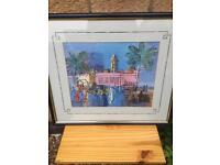 Framed vibrant print of a Continental Street Scene