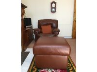 large soft Italian leather stool.
