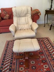 Leather Swivel Recliner Chair and stool