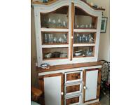 Mexican Artisan two-part Dresser with Glass Doors.
