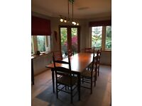 lovely deep red Grange shaker dining table with chairs