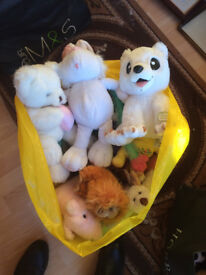 A bag of soft toys - almost new, in very good condition