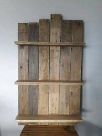 Pallet wood wall shelves