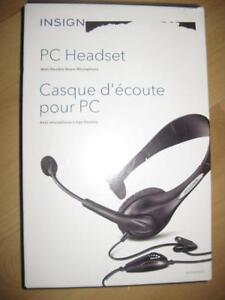 Insignia PC Headset / Headphones. Boom Mic. Comfortable. For Laptop Computer Desktop / Samsung Galaxy Phone / iPhone