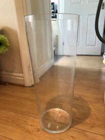 Tall, heavy glass vase, 65 cm
