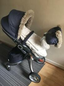 Xplory V4 Complete Stroller in Blue + Stokke Car Seat + Winter Kit
