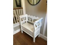 White wooden vintage storage bench - great for storing shoes