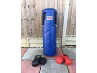 Punch bag and two sets of sparring mitts