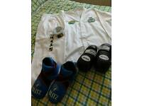 Taekwon Do suit, semi contact gloves and foot protectors