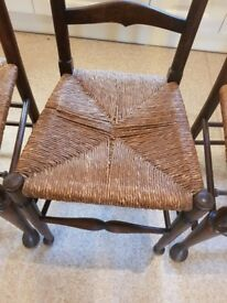 Antique wooden kitchen chairs with wicker seats ANY SENSiBLE OFFER CONSIDERED