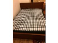 IKEA WOODEN DOUBLE BED FRAME WITH MATTRESS