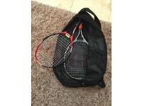 Two Wilson tennis racquets and bag